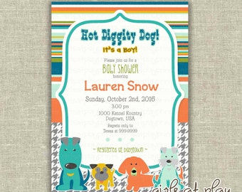 Baby Shower Boy Invitation Invite Dog Fall Modern Party Items  - print by you - by girls at play Etsy girlsatplay