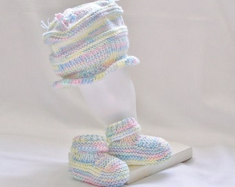 Baby Hat and Booties Set, Girl or Boy Newborn Knitted Cap Rainbow Pastels
