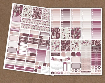 Printable Deluxe Fall Aubergine Weekly Planning Kit- Ombre Check Boxes, Icon Stickers, Pattern boxes - ECLP, MAMBI Happy Planner, Filofax