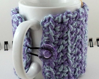 Crocheted Coffee or Ice Cream Cozy in Lavender and Ice Blue with Translucent Purple Button (SWG-I09)