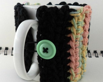 Crocheted Coffee or Ice Cream Cozy, Black and Pastel Colors (SWG-Z02)