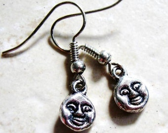 Hypoallergenic Antique Silver (Platinum/Rhodium) Tiny Moon Face Charm Rubber Back Dangle French Hook Earrings, Nickel Free
