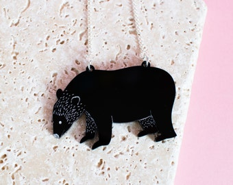Bear Necklace - bear jewellery - bear jewelry - bear pendant - black bear - animal necklace - bear gift - gift for animal lover