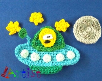 Crochet Applique spaceship