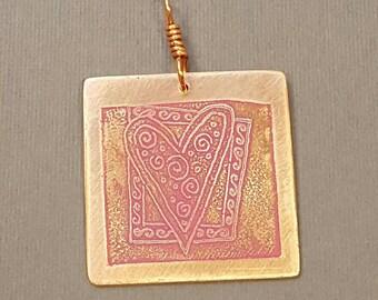 Spirals in heart on square copper Pendant