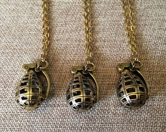 SUMMER SALE Grenade Necklace in Gold / Hollow Grenade Pendant on Antique Gold Cable Chain / Mens Grenade Necklace / Mens Bomb Necklace
