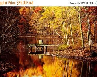 Summer Sale - Alabama Photography, Golden Pond, Autumn Landscape, Nature Decor, Autumn Photography, Fall Photography, Orange Wall Art, Gold,