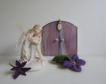 Fairy Door, Garden Sculpture, Outdoor Garden Art, Indoor Home Decor, Stained Glass, Fairy Garden Accessories, Portal, Terrarium Decor, Pink