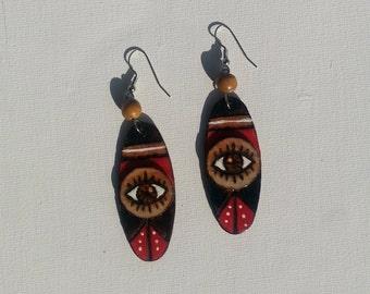 Eye See You Woodburned Earrings 1