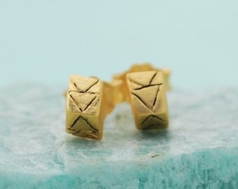 Carved Triangle Studs, sterling silver earrings, gold earrings, eco-friendly. Handcrafted by Chocolate and Steel