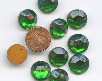 Glass Clear EMERALD GREEN Sew On Trim 15 mm Circle (10) Vintage Glass Bead Foil Flat Back Mirrored jc soemrd1513 1898
