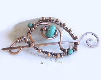 Copper Scarf Pin Turquoise Gemstones Copper Shawl Pin Sweater Pin Southwest Design Wire Wrapped Lapel Pin