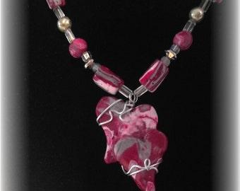 Heart Necklace; Wire-Wrapped Heart Necklace Pendant; Interchangable Pendants