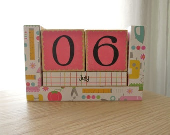 Perpetual Wooden Block Calendar - Sewing Machine and Seamstress Icons