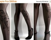 SALE25%off/// brand new color GREY sexy FLORA tattoo Thigh High stockings / nylons