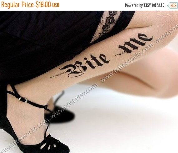 10%Off// sexy HALLOWEEN BITE ME tattoo thigh-high stockings ultra pale