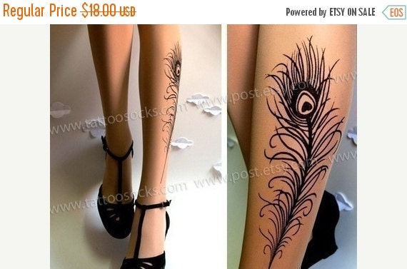SALE25%off/// PEACOCK FEATHER Tattoo gorgeous thigh-high stockings Light Mocha