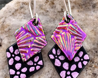 Pink Hand Etched Dichroic Glass Earrings..'Double Dangle'