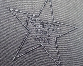 Black on Black Embroidered David Bowie Memorial Patch By Darkwear Clothing