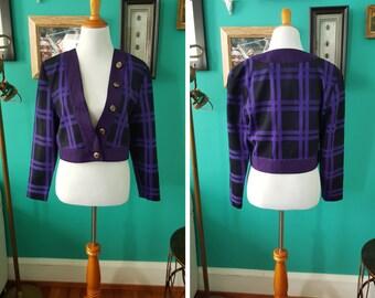 Vintage Purple/Black Plaid Cropped Blazer M L