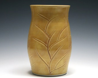 Dark Yellow Vase with Carved Branch Design