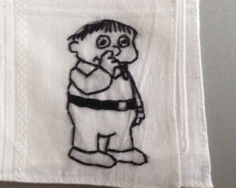 pick me a winner, ralph - ralph from the simpsons hand drawn and embroidered on a handkerchief