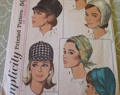 Vintage 60s Simplicity 6191 Misses Set of Hats Caps Sewing Pattern One Size