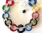 Rio 2016 Olympic Rings Bracelet - Helm & Rosette Weave Chain Mail