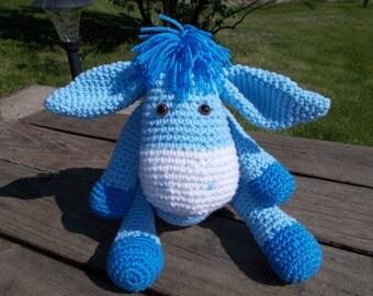 Blue Crochet Amigurumi Donkey-Handmade amigurumi donkey-Toy-Plushie-Ready to Ship