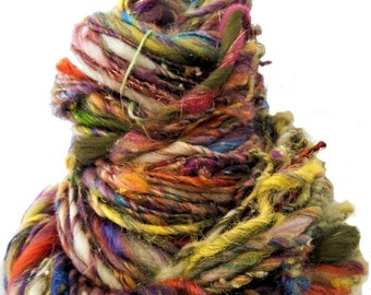 "Christmas in July SALE scrap yarn, bulky, thick and thin, super texture, mixed fiber Handspun , MTO, ""Kaleidescope"""