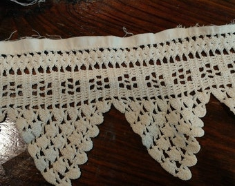 """Vintage Lace - Ivory- 44"""" x 4""""-Crochet- All profits go to charity"""