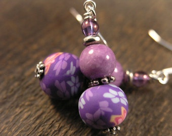 Purple flower polymer clay beads, quartzite stone handmade silver earrings