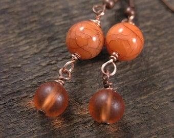 SALE Tangerine orange and antique copper handmade earrings