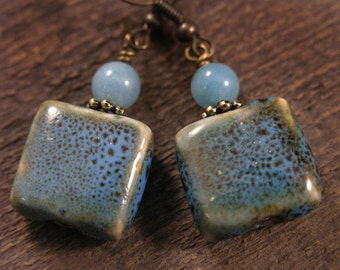 Turquoise blue and brown square porcelain beads, jade stone handmade antique brass earrings