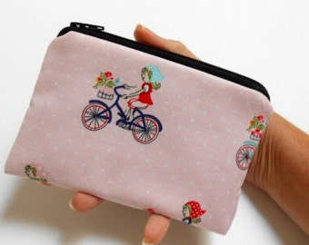 SALE Little Zipper Pouch Coin Purse  ECO Friendly Padded NEW Market Bike Ride
