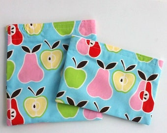 Reusable Snack Bag, Sandwich Bag with Apples and Pears, Zero Waste, Work lunch, School lunch, Summer snacks, Sustainable