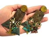 RESERVED 80s LONG Enamel Earrings / Ethnic Avant Garde Primitive Painted Brass Dangle Triangle Studio Artisan Earrings / Bohemian Gypsy