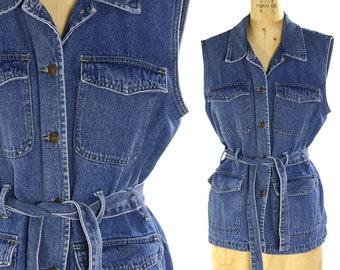 90s Denim Vest / Vintage 1990s Button Up Sleeveless Jeans Jacket / Boho Western Grunge Preppy Denim Shirt with Tie Belt / Women's Large