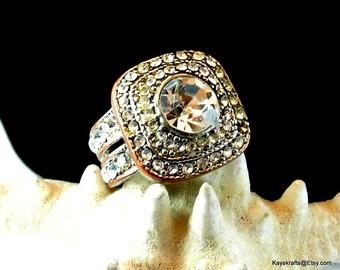 Rhinestone Ring, Vintage Statement Ring, Large Rhinestone Ring, Size 9 Ring, 1970 Statement Ring, Christmas Gift