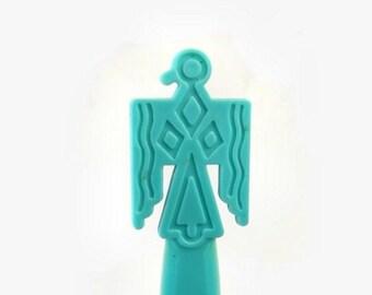 Southwestern Letter Opener, Vintage Plastic Turquoise Opener, Tribal Style Eagle Bird, Home Office Desk Tool