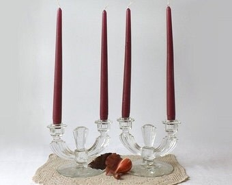2 Vintage Tiffin Etched Crystal Candle Holders, Double Light Candelabra