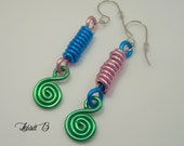 Colorful Aluminum Earrings Pink Blue Green Silver about 2 inches long, lightweight comfortable earrings