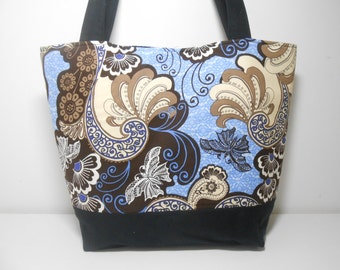 Black and Blue Large Tote Bag, Large Modern Grunge Bag with Pockets, Large Fabric Tote Bag