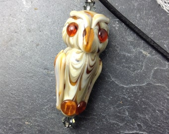 Owl, Handmade Art Glasss, Lampwork Necklace by James Tinker, Free Shipping, Leather Cord
