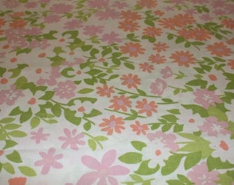 Reclaimed linen, reclaimed fabric, pink orange green floral reclaimed bed sheet, sewing fabric, quilting