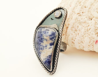 Moonstone and Blue Sodalite Stone Ring, Size 8 1/4 Sterling Silver Nautical Theme Silversmith Ring, Metalsmith Ring with Moon Bohemian Ring