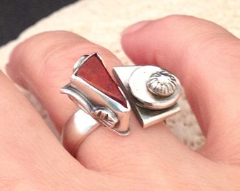 Red Jasper Contemporary Botanical Ring, Handcrafted Sterling Silver Stone Ring, Metalsmith Dual Stone Ring, Open Design Modern Ring
