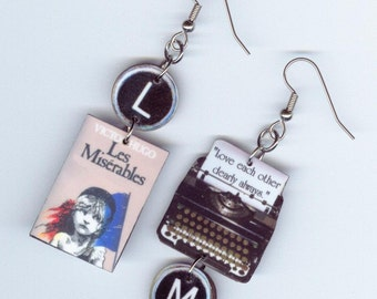 Book Cover Earrings - Les Miserable quote - typewriter key jewelry - book lovers club literary gift