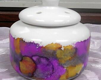 Hand Painted Ceramic Potpourri Jar, Garlic Bowl, Trinket Dish, Dresser Dish, Purple, Lidded Bowl, Bowl with Lid