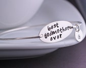 Godmother Jewelry Gift, Best Godmother Ever Bracelet, Personalized Sterling Silver Christening Gift
